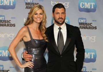 Erin Andrews and Maksim Chmerkovskiy speak to the press at the CMT Awards in Nashville
