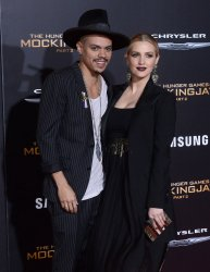 """Evan Ross and Ashlee Simpson attend """"The Hunger Games: Mockingjay - Part 2"""" premiere in Los Angeles"""