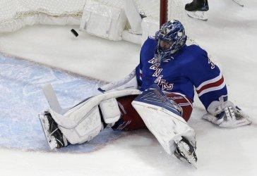 New York Rangers Henrik Lundqvist reacts after goal