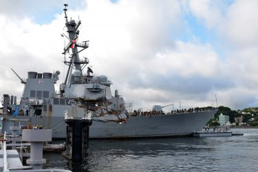 USS Fitzgerald in Dry Dock at FLEACT Yokosuka, Japan, after collision