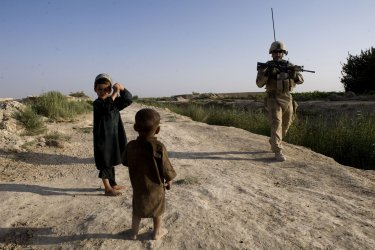 American troops on security patrol in Afghanistan