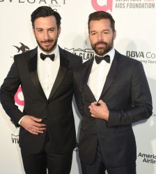 Ricky Martin and Jwan Yosef attend the Elton John Aids Foundation Oscar viewing party in Los Angeles