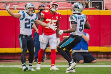 Panthers Teddy Bridgewater Celebrates with Panthers Christian McCaffrey after a Toudown Run