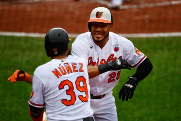 Orioles' Anthony Santander celebrates HR against Nationals