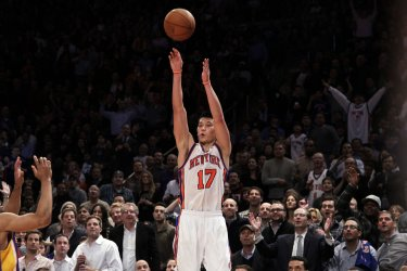 New York Knicks Jeremy Lin hits a 3-point shot at Madison Square Garden in New York
