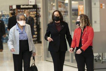 VP Kamala Harris visits a COVID-19 Vaccination Facility in Washington, DC