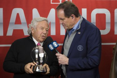 Robert Craft is interviewed during the awards ceremony after the AFC Championship
