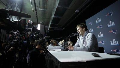 New England Patriots quarterback Tom Brady speaks in Bloomington