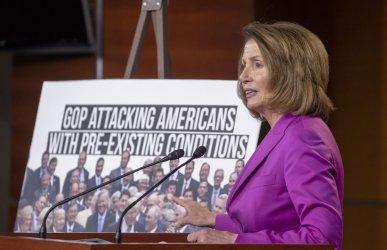 Minority Leader Nancy Pelosi Weekly Press Confrence on Capital Hill
