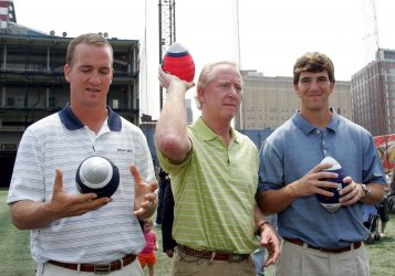 Eli, Petyon and Archie Manning at Father's Day Football Throwdown in New York