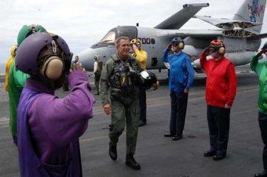 Bush On Board the USS Abraham Lincoln