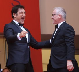 Javier Bardem and Thierry Fremaux attend the Cannes Film Festival