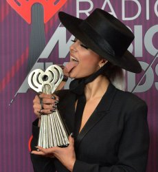 Bebe Rexha wins award at the iHeartRadio Music Awards in Los Angeles