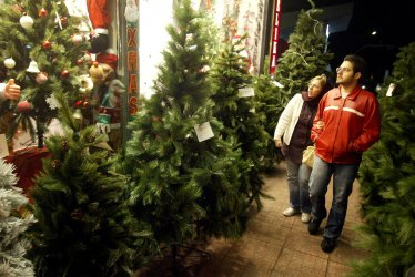 Christmas decorations on sale in Tehran