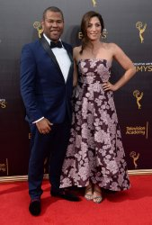 Jordan Peele and Chelsea Peretti attend the Creative Arts Emmy Awards in Los Angeles