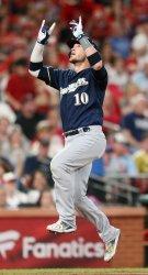Milwaukee Brewers Yasmani Grandal celebrates solo home run