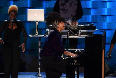 Singer-songwriter Alicia Keys performs for delegates at the DNC convention in Philadelphia