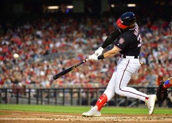 Nationals right fielder Bryce Harper hits a home run