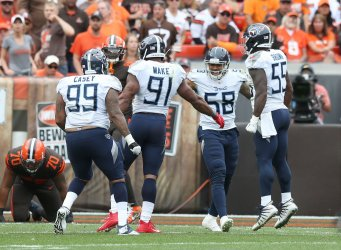 Titans' celebrate safety against Browns Mayfield