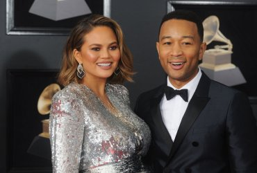 Chrissy Teigen and John Legend arrive at 60th Annual Grammy Awards in New York