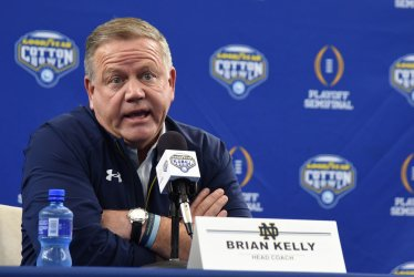 Notre Dame head caoch Brian Kelley takes part in Cotton Bowl Media Day