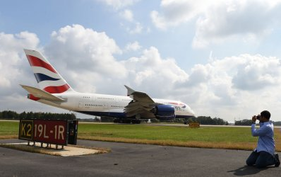 British Airways A380 arrives at Dulles International Airport