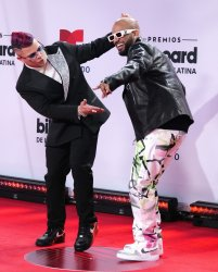 Jowell & Randy walk the red carpet at the 2020 Latin Billboard Awards in Sunrise, Florida
