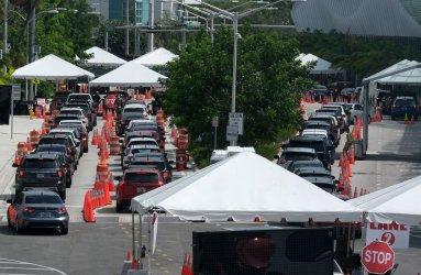 Miami Beach Residdnts Wait For COVID-19 Tests in Miami Beach, Florida