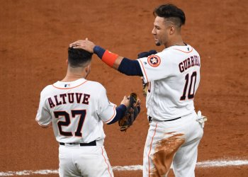 Astros Gurriel pats Altuve's head in World Series in Houston