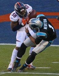 Broncos Von Miller sacks Panthers QB Cam Newton causing fumble