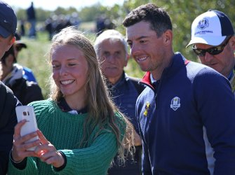 Rory McIlroy practice session at the Ryder Cup 2018