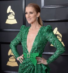 Celine Dion arrives for the 59th annual Grammy Awards in Los Angeles