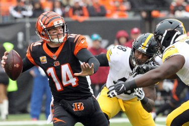 Cincinnati Bengals quarterback Andy Dalton throws under pressure