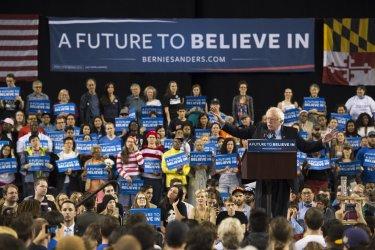Bernie Sanders speaks during a rally in Baltimore.