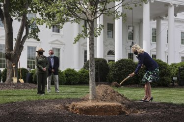 First Lady Jill Biden Participates in a Tree Planting Ceremony