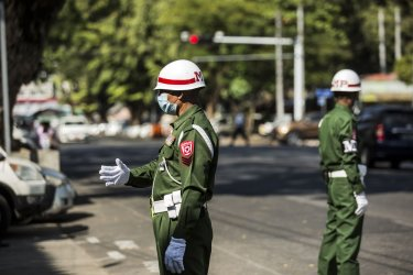 Soldiers Stand Guard in Yangon After a Military Coup in Myanmar