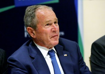 Former US President George Bush at the Bloomberg Global Business Forum in New York