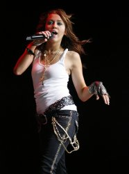 Hannah Montana/Miley Cyrus performs in concert in Houston