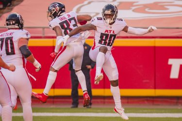 Falcons Russell Gage Celebrates Scoring a Touchdown with Laquon Treadwell
