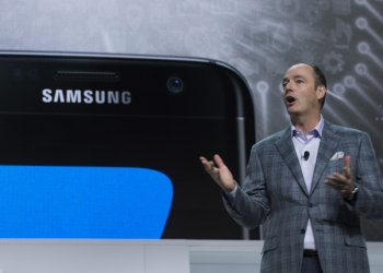 Tim Baxter speaks at the Samsung Press Conference ahead 2017 International CES .
