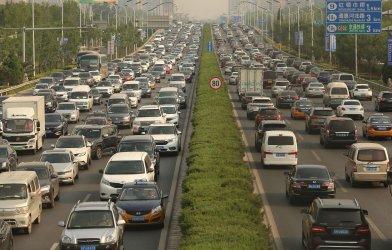 Heavy traffic slowly moves through Beijing, China