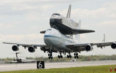 Space Shuttle Enterprise lands at JFK Airport in New York