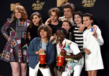 Cast of 'Stranger Things' wins award at the 2017 MTV Movie & TV Awards in Los Angeles