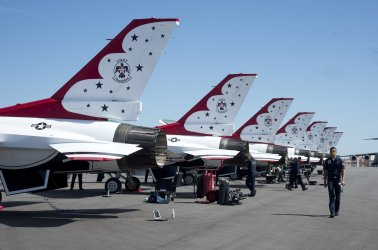 The USAF Thunderbirds arrive at Patrick Air Force Base in Florida for the Valiant Air Command 2013 Air Show.