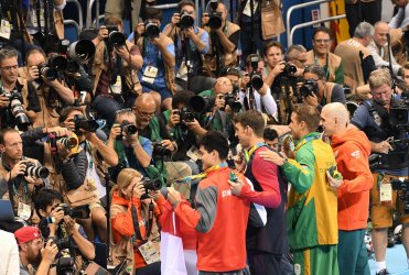 Joseph Schooling (SIN), Michael Phelps (USA), Chad Guy Bertrand Le Clos (RSA) and Laszlo Cseh (HUN) after the Men's 100M Butterfly at the 2016 Rio Olympics
