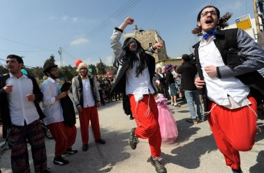 Israeli Settlers Celebrate Purim In Hebron