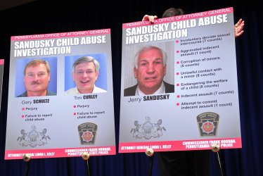 State Attorney General Linda Kelly and State Police Commissioner Frank Noonan hold a press conference on the Jerry Sandusky child-sex crimes investigation in Harrisburg