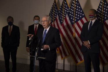 Republican leaders brief press after weekly policy lunch on Capitol Hill