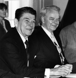President Ronald Reagan meets with Senate Majority leader Robert Byrd