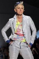 Ellen Degeneres walks on the runway in the Richie Rich fashion show In New York